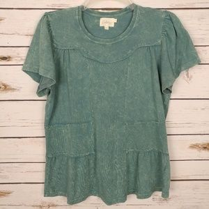 Deletta Anthropologie Distressed Oil Washed Tee S